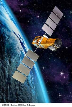 Figure 7 : une vue d'artiste de Corot dans l'espace. Le satellite a été lancé en 2006 depuis Baïkonour et placé sur une orbite polaire à 900 km d'altitude. © Cnes