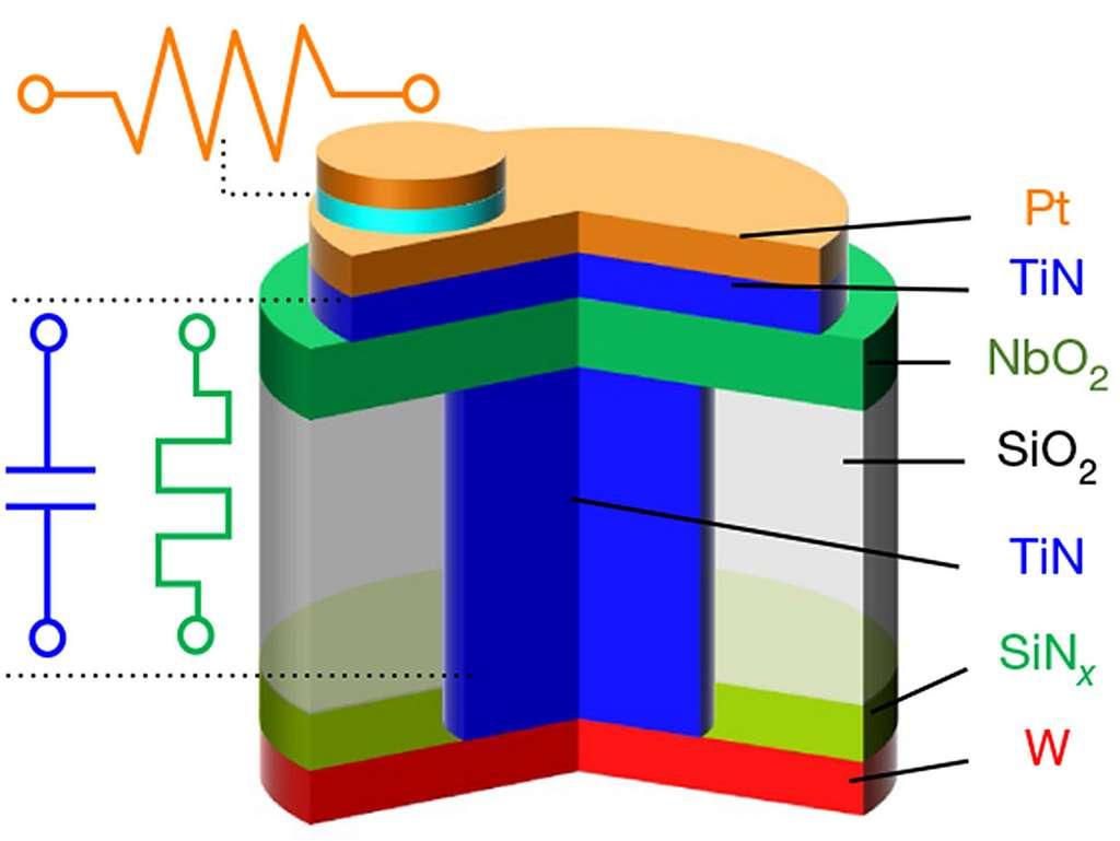 La composition du memristor lui permet de reproduire l'activité d'un neurone. © Research Group of R. Stanley Williams