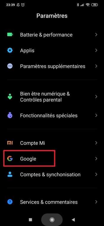 Allez dans les paramètres de Google. © Xiaomi Corporation