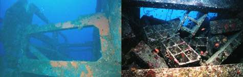 Figure 5 : Exemple de l'effet de l'architecture du récif sur son efficacité biologique (récif de Golfe-Juan, Alpes-Maritimes). © Figures et photos : E. Charbonnel - Tous droits réservés