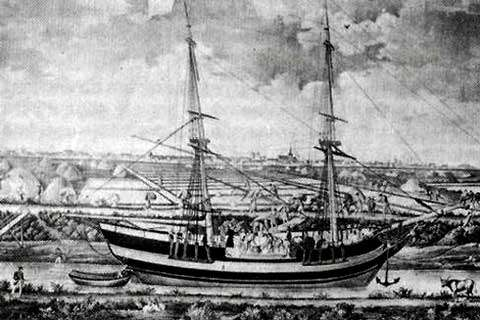 Bateau venant chercher le sel à Bourneuf