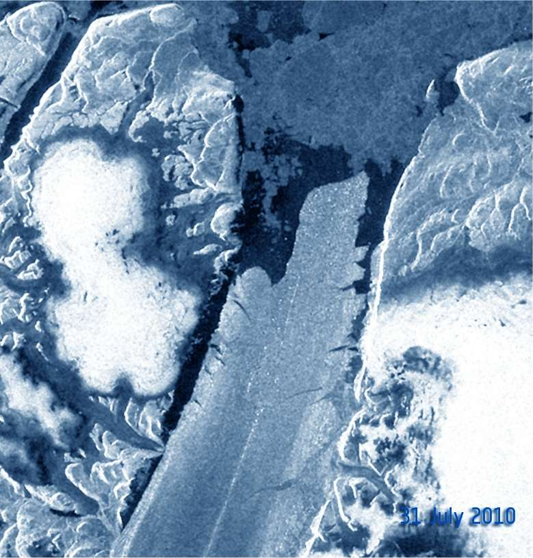 Une image réalisée grâce au radar à synthèse d'ouverture (Asar, Advanced Synthetic Aperture Radar), embarqué à bord du satellite Envisat. Elle montre le glacier Petermann le 31 juillet 2010, donc avant la rupture. La langue de glace est bien visible au milieu. © Esa