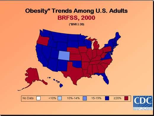 Taux d'obésité aux États-Unis en 2000.