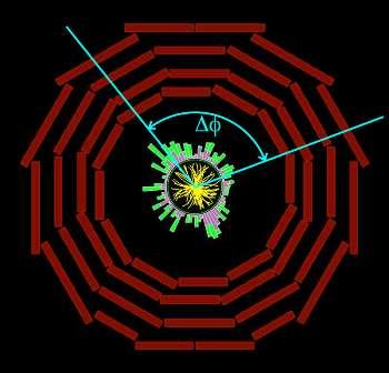 Un schéma avec une coupe transversale de CMS. L'angle est ici donné pour deux paires de particules ayant des trajectoires (jaune) selon un plan transversal. © Cern