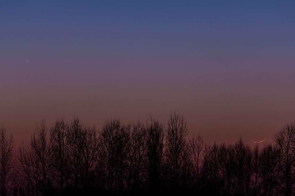 Le 12 mars, le ciel de la région de Béthune se dégageait après de fortes chutes de neige, révélant la comète Panstarrs, à gauche légèrement en haut, et un très fin croissant de Lune, en bas à droite. © Sylvain Wallart