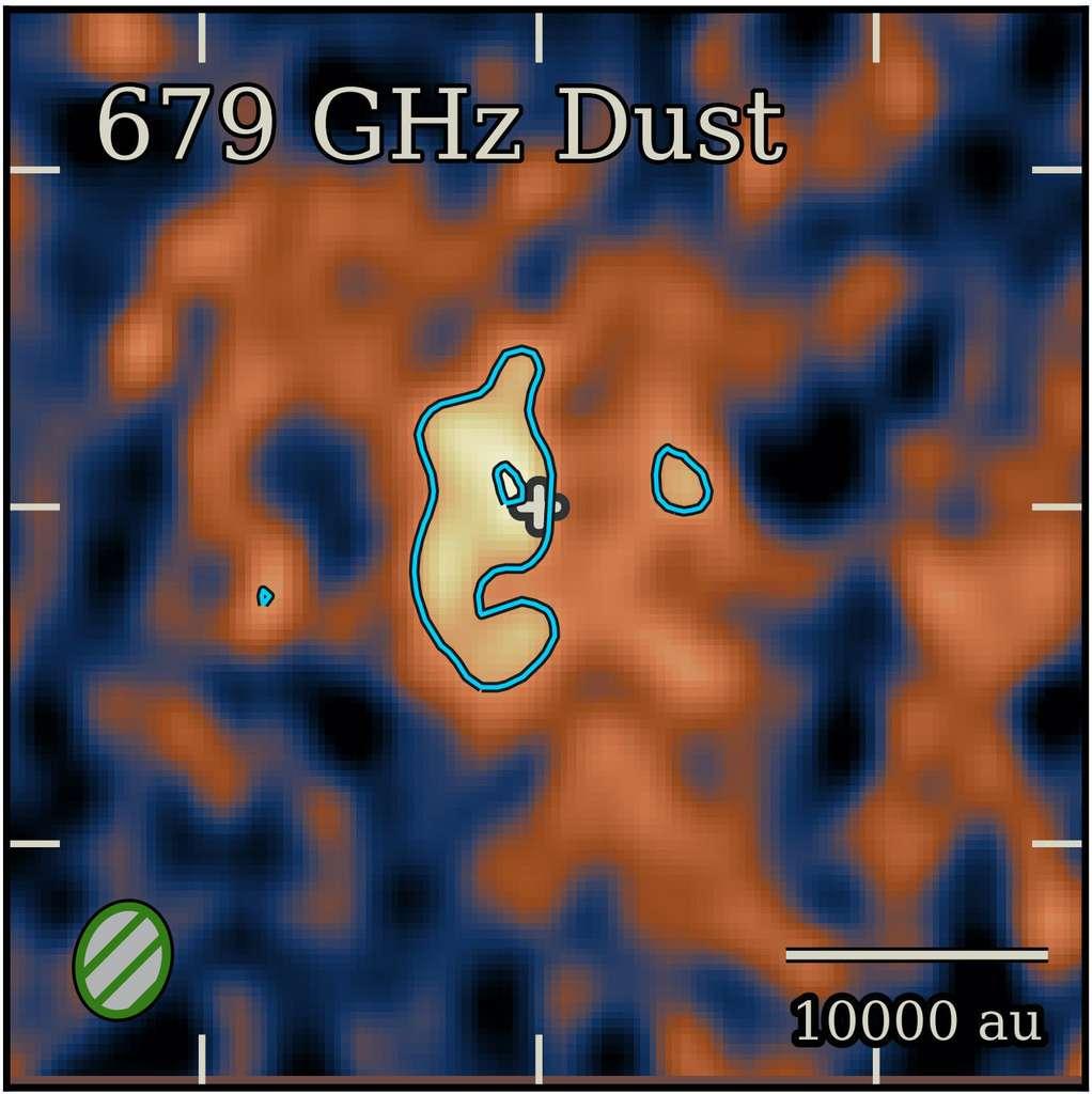 Un zoom sur les restes de la supernova 1987A. Dans la boucle bleue, à droite du centre, la possible localisation de l'étoile à neutrons résultante. © Cigan et al., Université de Cardiff
