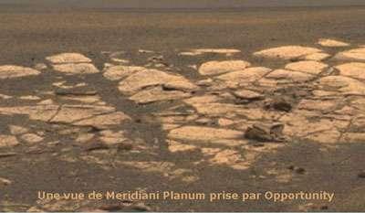 Meridiani Planum vu par le rover martien Opportunity. © DR