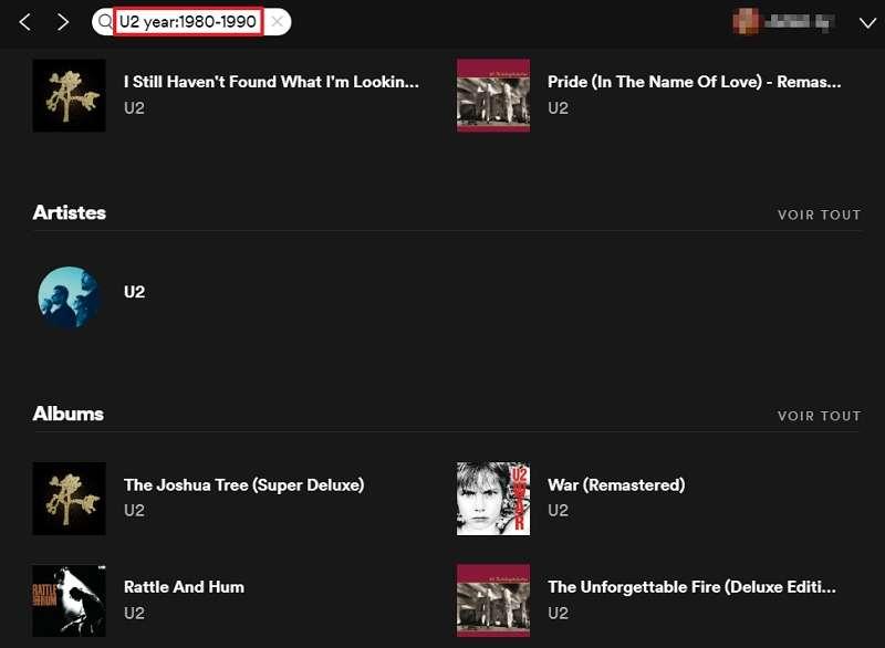 N'écoutez que les titres de la meilleure période de vos artistes préférés. © Spotify AB