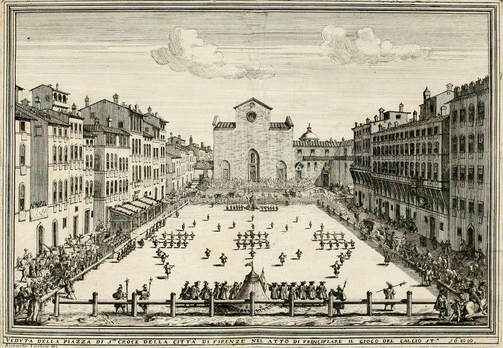 Match de calcio florentin en 1688 sur la place Santa Croce.© Inconnu, Wikimedia Commons, Domaine Public