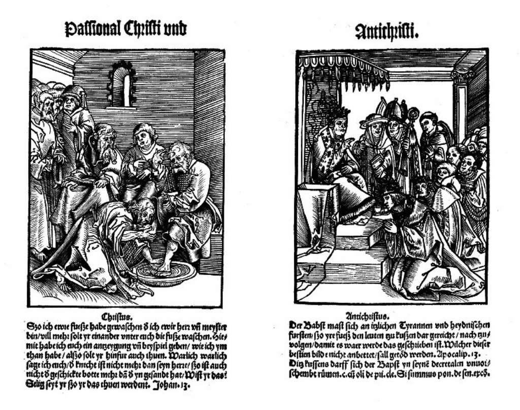 Image « le lavement des pieds » extraite de la satire « la Passion du Christ et de l'Antéchrist », gravée par Lucas Cranach en 1521 (pendant que le Christ baise le pied de son disciple, un croyant baise le pied du pape). © Wikimedia Commons, domaine public