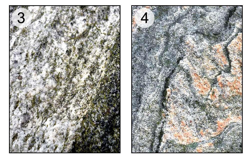 En 3, gneiss avec bandes caractéristiques. En 4, gneiss de couleur. © Claire König, DR