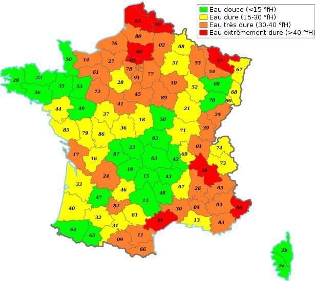 Dureté de l'eau en France, par département. © Wikipédia, domaine public