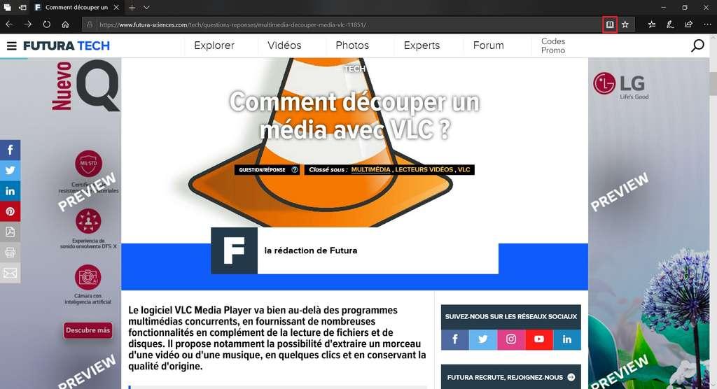 Visualisation d'un article sur Futura-Sciences avec Microsoft Edge en mode normal. © Microsoft Corporation