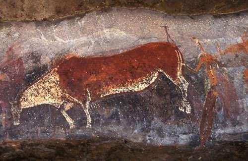 Chaman et antilope dans la région de Drakensberg