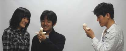 L'Elfoid P1 transmettra à terme les expressions du visage et les pressions exercées sur l'appareil par chaque interlocuteur. © Université d'Osaka et ATR