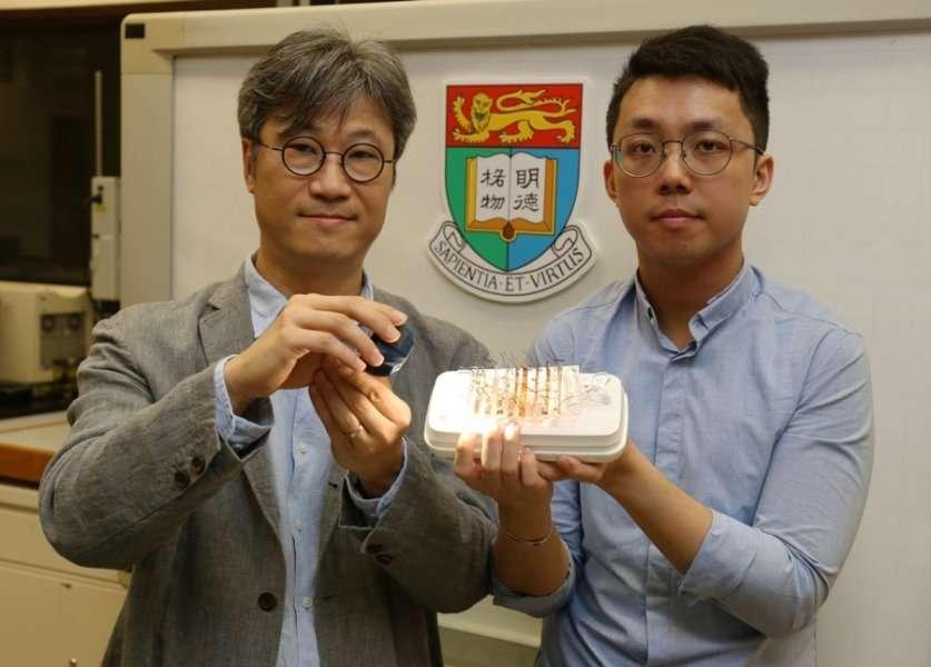 Le professeur Alfonso Ngan et le docteur Kwan Kin-wa présentent leur matériau capable de s'animer lorsqu'il est stimulé par la lumière. © University of Hong Kong