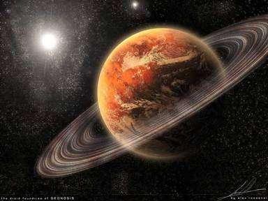 La planète Géonosis avec sa ceinture d'astéroïdes. © Lucasflim Ltd