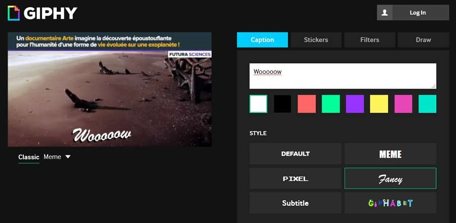 Giphy vous permet d'ajouter facilement du texte, des stickers et des dessins sur votre GIF. © Giphy Inc.