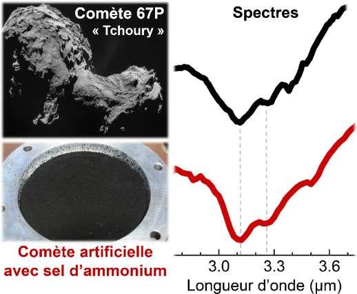 Comparaison du spectre de la comète artificielle contenant du sel d'ammonium (en rouge) avec le spectre de la surface de la comète « Tchoury » (en noir). Le noyau de la comète mesure environ 4 km de long (image en haut à gauche, © ESA/Rosetta/NAVCAM – CC by-sa IGO 3.0). La comète artificielle est produite au laboratoire dans un récipient de 5 cm de diamètre (image en bas à gauche, © Poch et al., 2020)