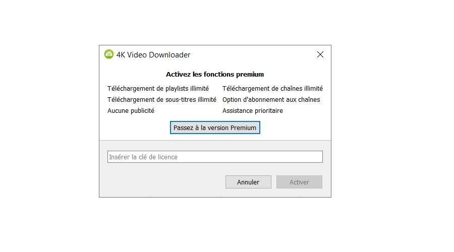 Fenêtre d'activation des fonctions premium © 4K Video Downloader