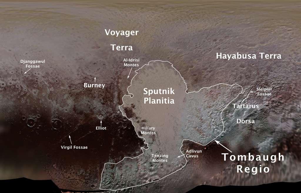 Noms officiels des régions de Pluton validés par l'Union astronomique internationale en août 2017. © Nasa, JHUAPL, SwRI, Ross Beyer