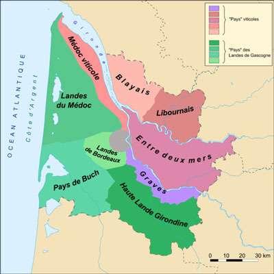 Carte montrant les différents pays de Gironde. © DR