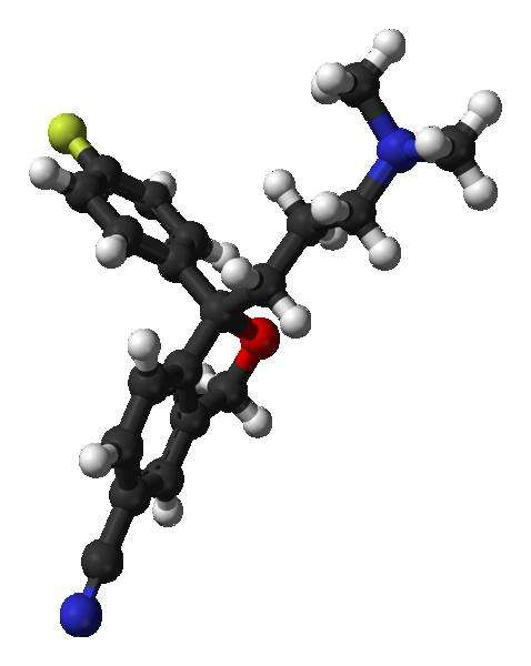 L'escitalopram, ici représenté en 3D, est commercialisé sous différents noms, parmi lesquels le Lexapro ou Séroplex. Sa formule brute est C20H21FN2O. © Benjah-bmm27, Wikipédia, DP
