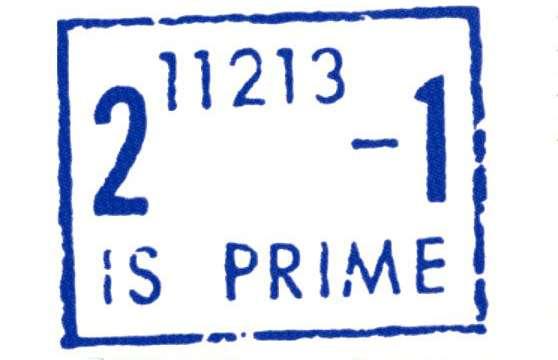 Oblitération postale créée en 1963 par le département de mathématiques de l'université de l'Illinois pour célébrer la découverte du 23e nombre de Mersenne et nombre premier record 211213 – 1. © Belin