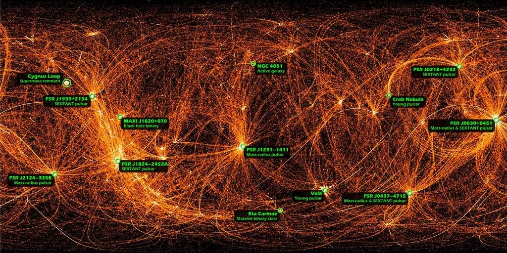 Cette image de tout le ciel montre 22 mois de données en rayons X enregistrées par Nicer. Certaines sources sont des étoiles à neutrons, d'autres des trous noirs (black hole). Les lignes que l'on voit proviennent du fait que Nicer effectue des mouvements périodiques pour se pointer vers des sources X bien précises, ce qui laisse les traces de ces mouvements (voir la vidéo ci-dessous). © Nasa/Nicer