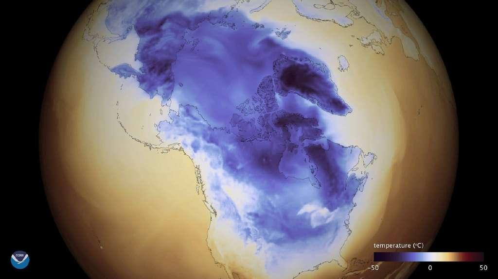 La vague de froid descendant de l'Arctique sur l'Amérique du Nord. Des études suggèrent que le changement climatique affaiblit le jet-stream ce qui fait plonger l'air arctique vers le sud. © NOAA