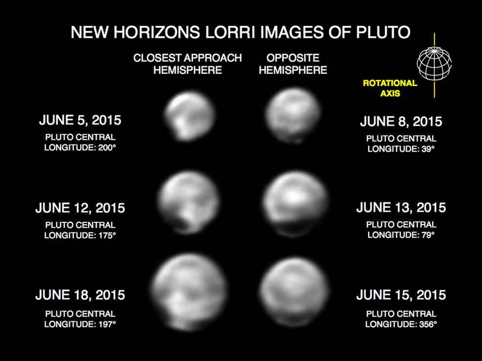 Ces images, prises avec le Long Range Reconnaissance Imager (Lorri) de New Horizons, présentent de nombreuses caractéristiques à grande échelle sur la surface de Pluton. Ces clichés ont été traités à l'aide d'une méthode appelée déconvolution afin d'obtenir des détails plus précis de la surface de Pluton. En contrepartie, elle déforme la planète naine qui semble ne plus être sphérique. © Nasa, Johns Hopkins University Applied Physics Laboratory, Southwest Research Institute