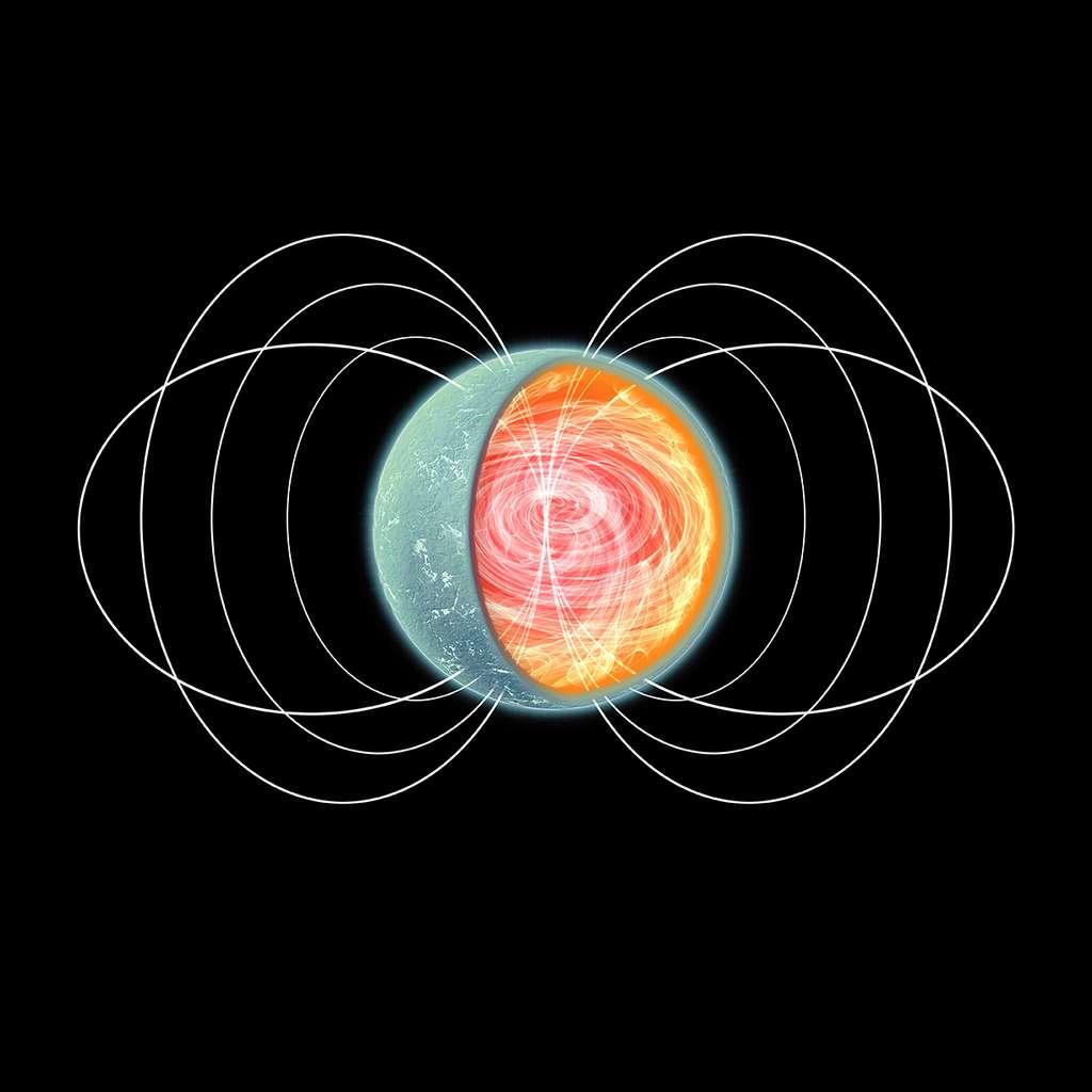 Une vue d'artiste d'une étoile à neutrons. Les lignes de champs magnétiques sont complexes à l'intérieur de cet astre compact, chaud et hyperdense, pouvant peser autant que le Soleil mais occupant le volume d'une montagne. © Nasa
