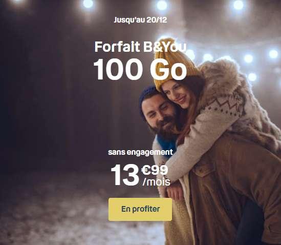 Promo Noël forfait 100Go © B&You