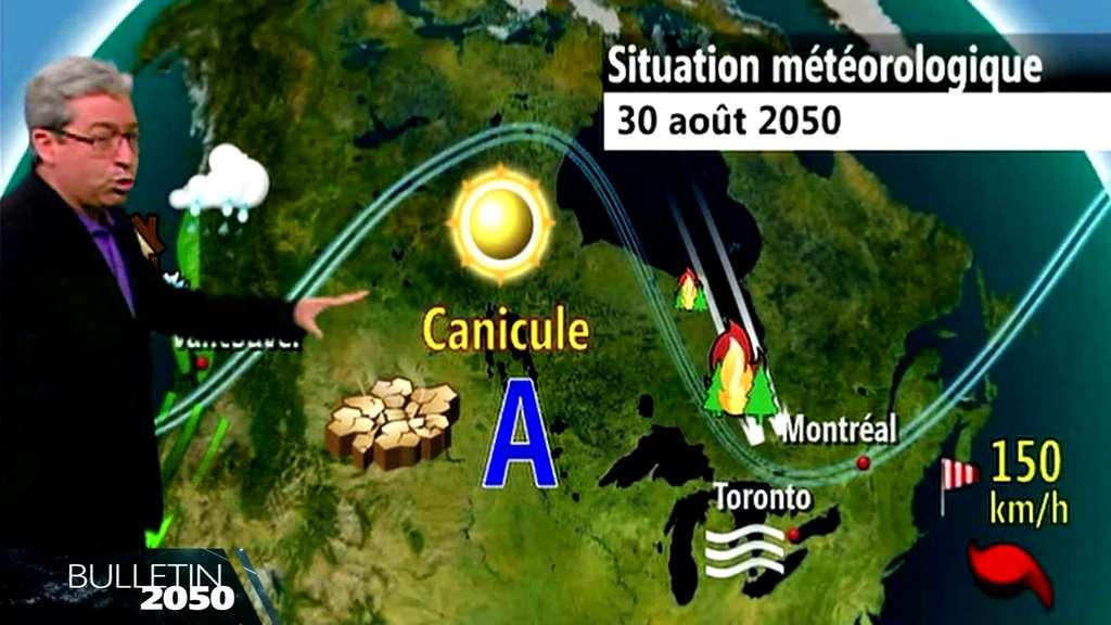 Patrick de Bellefeuille présente le bulletin météo pour demain, 30 août 2050, valable pour l'ensemble du Canada. Il rappelle qu'aux îles de la Madeleine la pollution des nappes phréatiques par l'eau de mer, à cause de la hausse du niveau de l'océan, contraint les habitants à fuir. © WMO