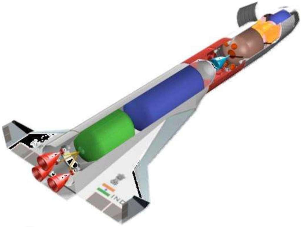Projet indien de lanceur réutilisable à deux étages en forme de navette spatiale. © Isro