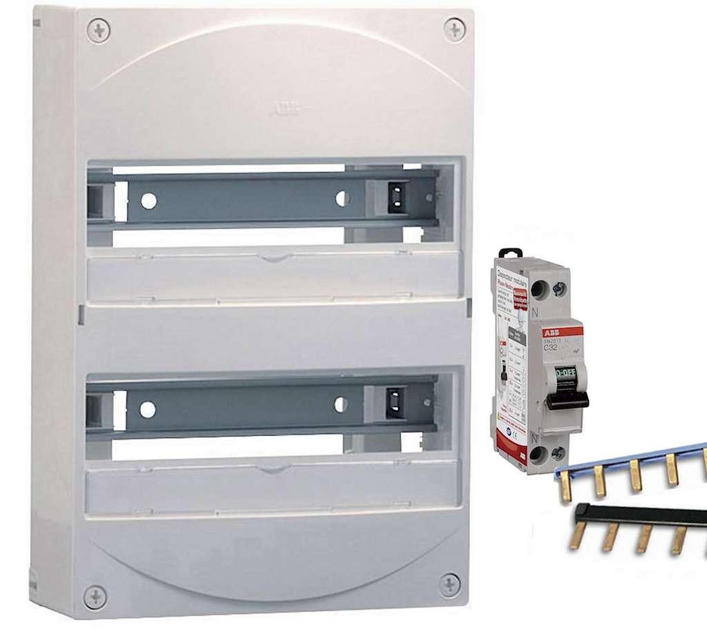 La création d'un tableau électrique à partir d'un coffret nu implique de comptabiliser précisément tous les modules utiles à l'installation : inters différentiels 30 mA type A ou AC, disjoncteurs divisionnaires de 2 à 32 A (selon les lignes à protéger), contacteur, délesteur, horloge programmable… Sans oublier les indispensables peignes ou cordons d'alimentation de phase et de neutre. © ABB