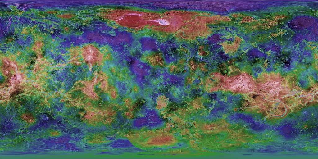 Carte topographique de Vénus en fausses couleurs. © USGS Astrogeology Science Center