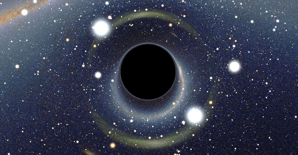 La voûte céleste telle que la verrait un observateur situé près d'un trou noir devant le centre de notre galaxie. © © Alain R - CC BY-SA 2.5