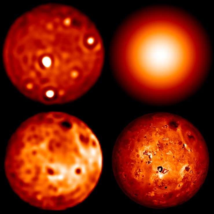 L'image de Io prise en utilisant l'optique adaptative avec le télescope de 10 m du Keck dans la bande spectrale L (en haut à gauche) est dominée par les émissions volcaniques actives des points chauds, tels que celui de Loki, situé près du centre du disque. Une image de Io en haut à droite montre ce que le télescope Keck verrait sans optique adaptative. Dans la bande K (en bas à gauche), et toujours avec l'optique adaptative, les images obtenues au Keck montrent un niveau de détails comparable aux images prises en lumière visible avec la sonde Galileo (en bas à droite). © Keck Observatory