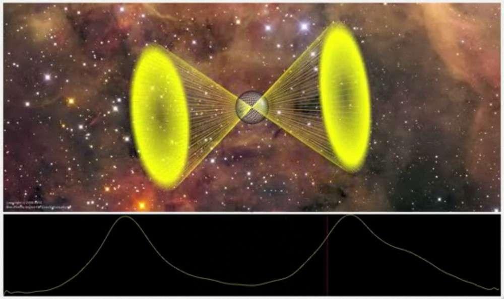Représentation du pulsar PSR J2007+2722 découvert par le réseau Einstein@Home. Crédit Oliver Bock/Albert Einstein Institute