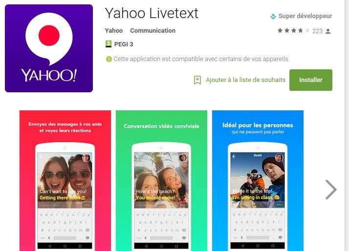 L'application LiveText de Yahoo! est disponible gratuitement en France sur l'iPhone et les terminaux Android. © Yahoo!