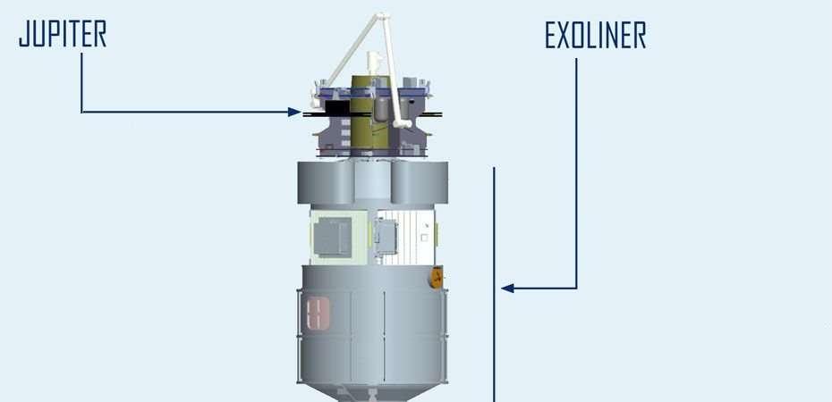 Le système de transport avec le véhicule Jupiter et le conteneur Exoliner. © Lockheed Martin