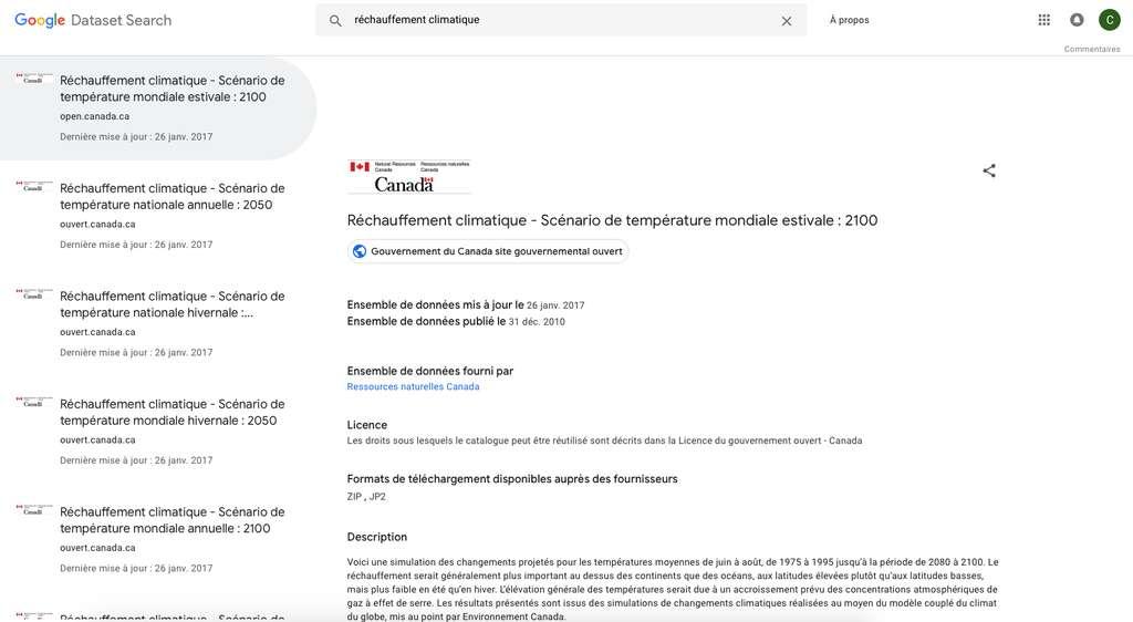 Aperçu de recherche dans Google Dataset Search. © Google