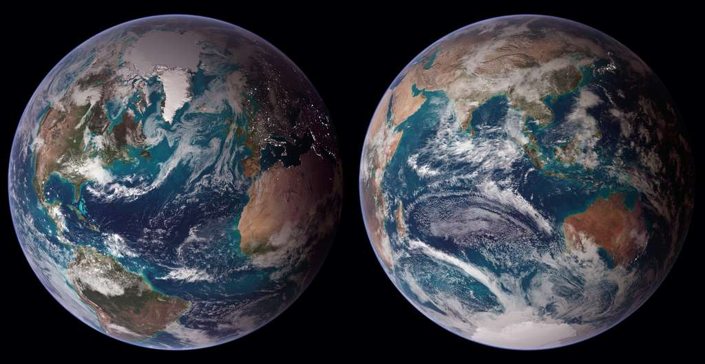 Twin Blue Marbles. © Reto Stöckl, Nasa, Noaa
