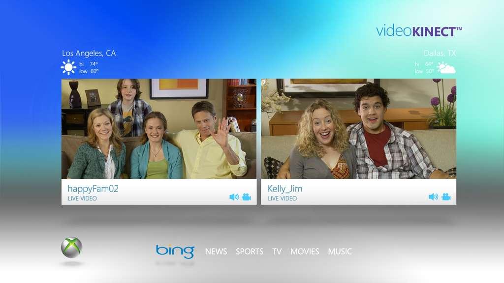 Kinect peut aussi être utilisé pour des tchats vidéo : le jeu n'est pas la seule destinée que Microsoft imagine pour son interface corporelle. © Microsoft