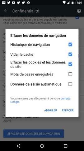 Outre l'historique de navigation de Chrome, il est également possible de supprimer les cookies et de nettoyer le cache. © Futura-Sciences
