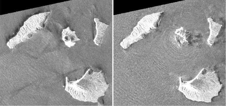 Des images satellites prises avant et après l'éruption par l'Agence spatiale japonaise (Jaxa) ont mis en évidence que deux km² de l'île volcanique où se trouve l'Anak Krakatau ont été engloutis sous les flots. © Jaxa