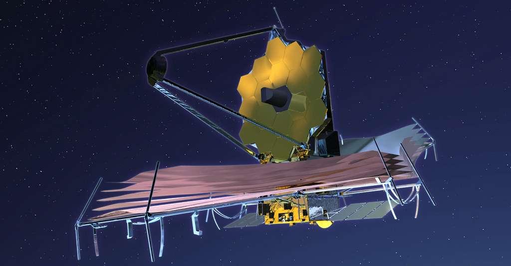 Des astronomes ont identifié une nouvelle méthode qui, grâce au futur télescope spatial James Webb – ici en vue d'artiste –, permettra de détecter la présence d'une atmosphère autour d'une exoplanète en seulement quelques heures d'observation. © Nasa