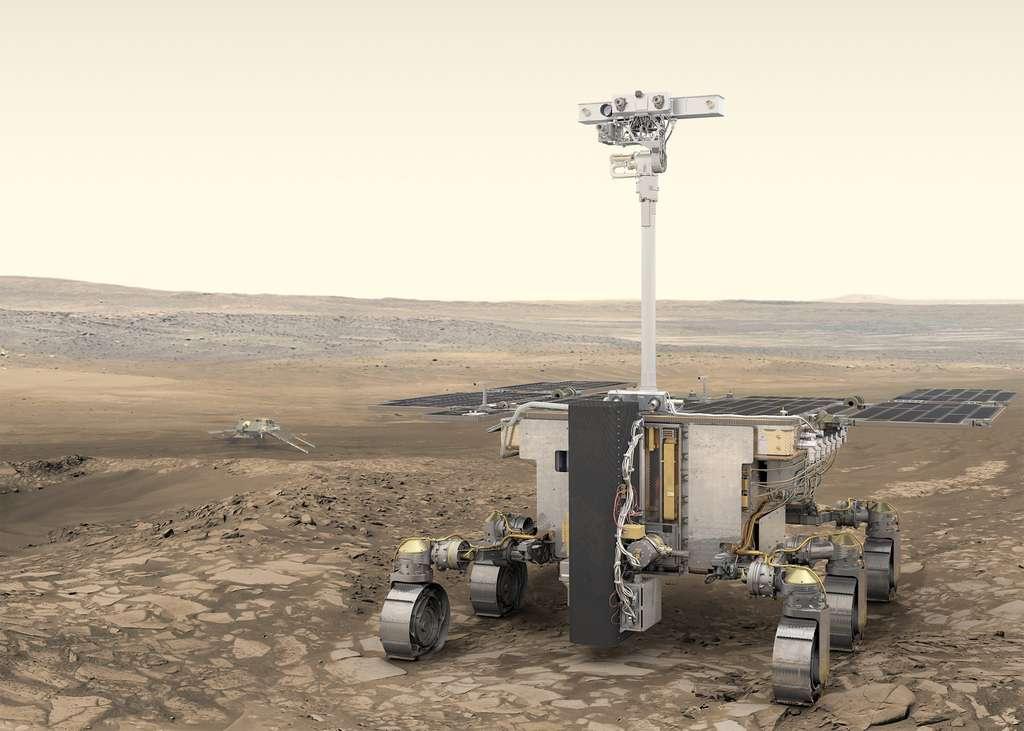 Le rover ExoMars 2020 et sa foreuse capable de creuser jusqu'à deux mètres de profondeur. © ESA, ATG medialab