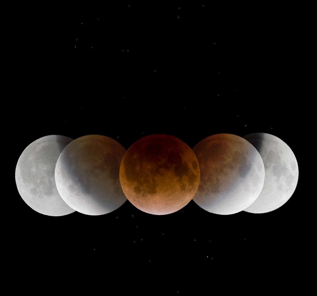 Photo composite de l'éclipse de Lune de décembre 2015. © Wang, Letian, APOD